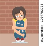 crying girl sits hugging her... | Shutterstock .eps vector #1039783735