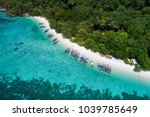 aerial view of long tail boat... | Shutterstock . vector #1039785649