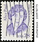 Small photo of UNITED STATES OF AMERICA - CIRCA 1995: A stamp printed in USA shows Alice Paul, suffragist, circa 1995