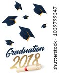 graduation 2018 poster with hat ... | Shutterstock .eps vector #1039799347