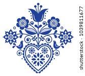scandinavian retro folk art... | Shutterstock .eps vector #1039811677