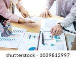 business team meeting present.... | Shutterstock . vector #1039812997