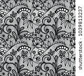 lace black seamless pattern... | Shutterstock .eps vector #1039813237