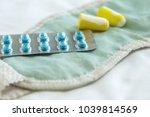 concept of insomnia   earplugs  ... | Shutterstock . vector #1039814569