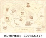 vintage world map with compass... | Shutterstock .eps vector #1039821517