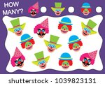 count how many clowns. learning ... | Shutterstock .eps vector #1039823131