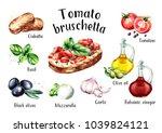 tomato bruschetta ingredients.... | Shutterstock . vector #1039824121