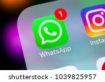 Small photo of Sankt-Petersburg, Russia, March 6, 2018: WhatsApp messenger application icon on Apple iPhone X smartphone screen close-up. Whatsapp messenger app icon. Social media icon. Social network