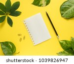 notepad leaf with pencil in the ... | Shutterstock . vector #1039826947