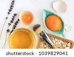 bright egg yolks  oatflakes ... | Shutterstock . vector #1039829041