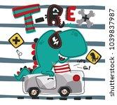 funny cute cartoon t rex... | Shutterstock .eps vector #1039837987