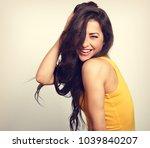 beautiful enjoying fun laughing ...   Shutterstock . vector #1039840207