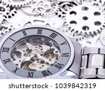 closeup wristwatch silver with ... | Shutterstock . vector #1039842319