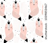 seamless pattern with hand... | Shutterstock .eps vector #1039853467