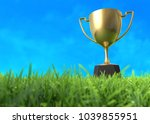 golden trophy cup on the field. ... | Shutterstock . vector #1039855951