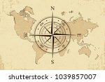vintage world map with retro... | Shutterstock .eps vector #1039857007