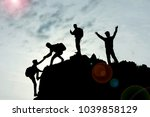 teamwork and success with unity ... | Shutterstock . vector #1039858129