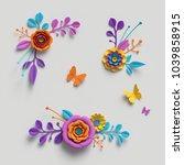 3d Render  Paper Flowers Clip...