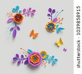 3d render  paper flowers clip... | Shutterstock . vector #1039858915