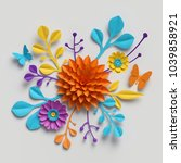 3d render  paper flowers...   Shutterstock . vector #1039858921