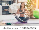 yoga is my lifestyle  sportive... | Shutterstock . vector #1039860505