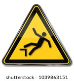 warning for falling down and... | Shutterstock . vector #1039863151