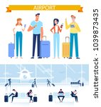 young people with luggage at... | Shutterstock .eps vector #1039873435