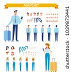 man and woman travelers with... | Shutterstock .eps vector #1039873441