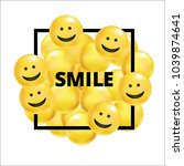smile yellow balloons background | Shutterstock . vector #1039874641