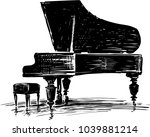 sketch of a concert grand piano | Shutterstock .eps vector #1039881214