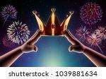 hands cartoon are wearing a... | Shutterstock . vector #1039881634
