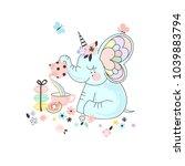 fancy cute elephant drinking... | Shutterstock .eps vector #1039883794