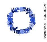 blue flowers wreath. elegant... | Shutterstock .eps vector #1039883929