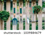 gardening equipment hanging on... | Shutterstock . vector #1039884679