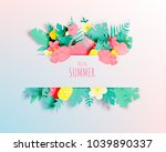 tropical floral with flamingo... | Shutterstock .eps vector #1039890337
