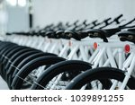 modern bicycles rental shop. | Shutterstock . vector #1039891255