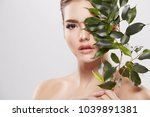 attractive young girl with nude ... | Shutterstock . vector #1039891381