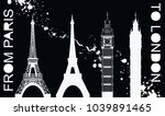 big ben and eiffel tower | Shutterstock .eps vector #1039891465