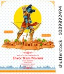 illustration of lord rama with... | Shutterstock .eps vector #1039892494