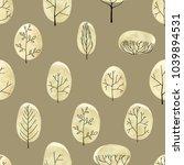 watercolor vector trees... | Shutterstock .eps vector #1039894531