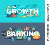 banking and growth set of flat...   Shutterstock .eps vector #1039895905