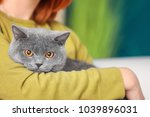 Stock photo young woman with cute pet cat closeup 1039896031
