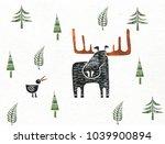 moose and bird | Shutterstock . vector #1039900894