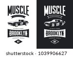 vintage muscle car black and... | Shutterstock .eps vector #1039906627