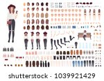 Young trendy woman or girl construction kit or creation set. Bundle of various postures, hairstyles, faces, legs, hands, clothes, accessories. Front, side, back views. Cartoon vector illustration.  | Shutterstock vector #1039921429