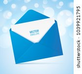 blue vector envelope on a bokeh ... | Shutterstock .eps vector #1039921795