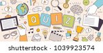 Stock vector horizontal banner with hands of people solving puzzles or brain teasers and answering quiz 1039923574