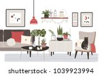 living room full of cozy... | Shutterstock .eps vector #1039923994