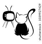 illustration of black cat... | Shutterstock .eps vector #1039927429