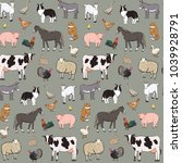 farm animals seamless pattern | Shutterstock . vector #1039928791